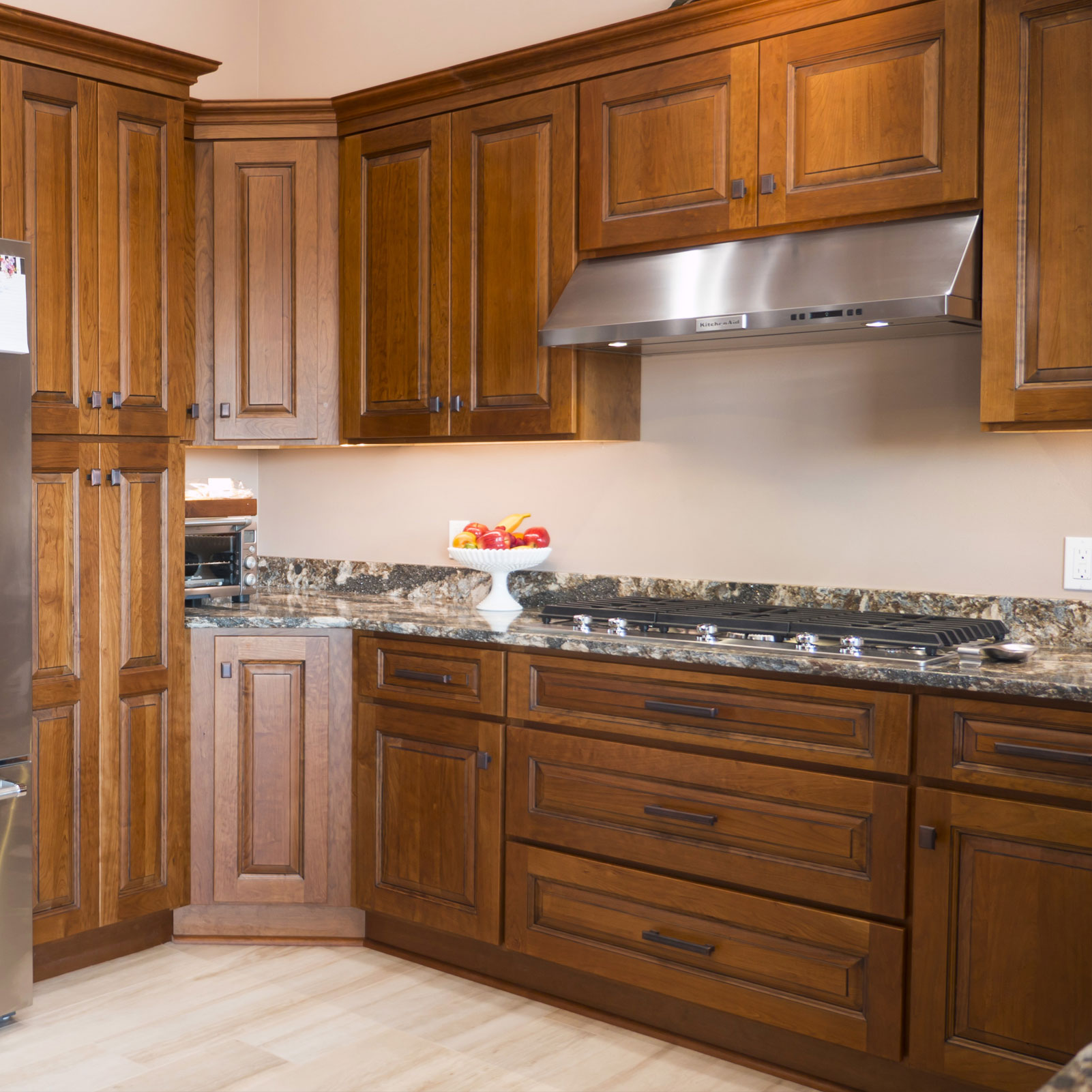 Kitchen Cabinets Wood Choices: Custom Cinnamon Stained Cherry Kitchen Cabinets