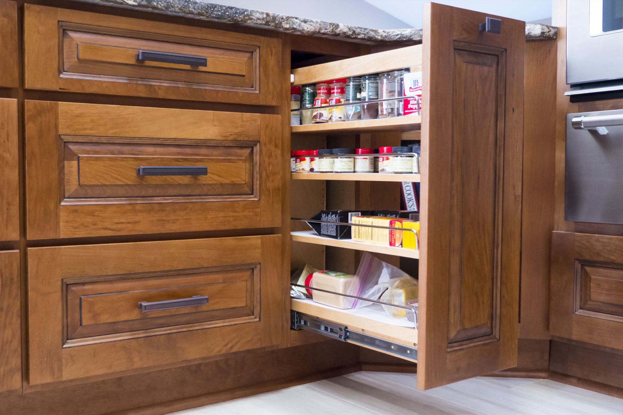 Custom Cinnamon Stained Cherry Kitchen Cabinets